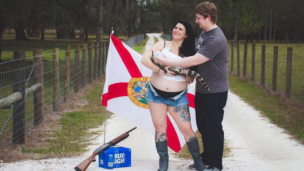 Lindsey Tuttle and her husband have lived in Florida their whole lives. So when it came time to take maternity photos, the couple decided to come up with something that wasn't a run-of-the-mill maternity photo. It had to be as Florida as it could be. [Photo provided by Trisha E. Photo]