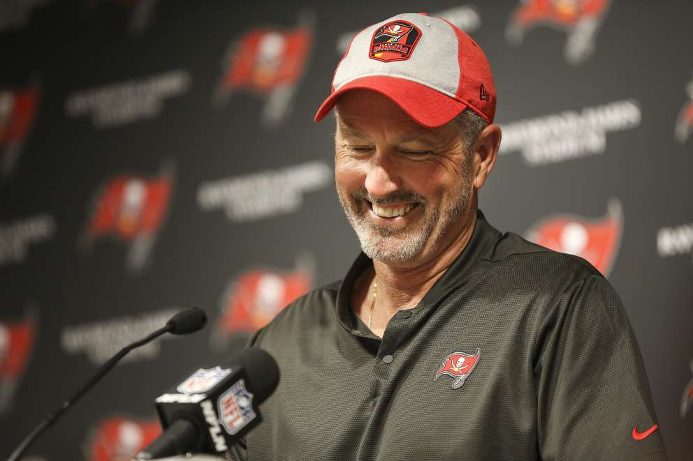 Bucs head coach Dirk Koetter talks to the media after a win over the Panthers earlier this month in Tampa. [MONICA HERNDON | Times]