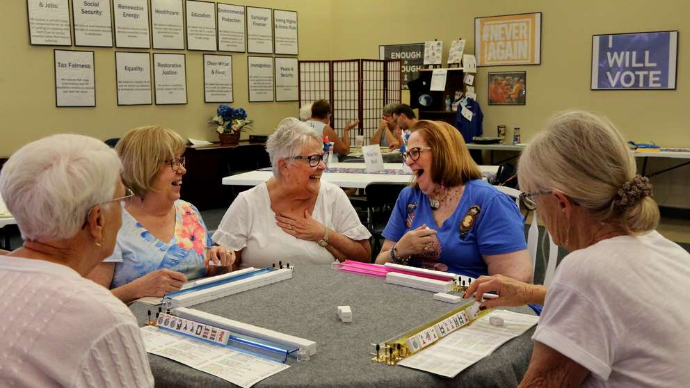 From left: Nancy Meyer, 81, Paula Berman, 71, Mirelle Freedman, 75, Shelly Newman, 68, and Jo Harper, 75, play Mah Jongg on Monday, August 5, 2019, at the Democratic Campaign Headquarters in Wildwood. The women, all residents of The Villages in Sumter County, are part of The Villages' Democratic Mah Jongg Group. [DOUGLAS R. CLIFFORD | Times]