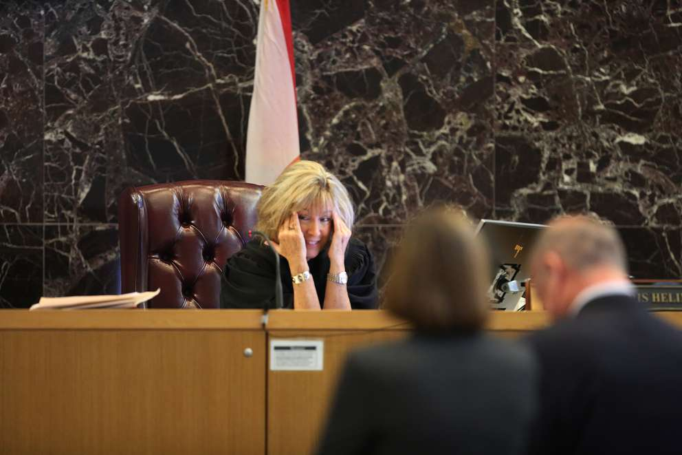 Judge Chris Helinger during the second day of jury selection Tuesday discusses scheduling issues with the attorneys. [SCOTT KEELER | Times]