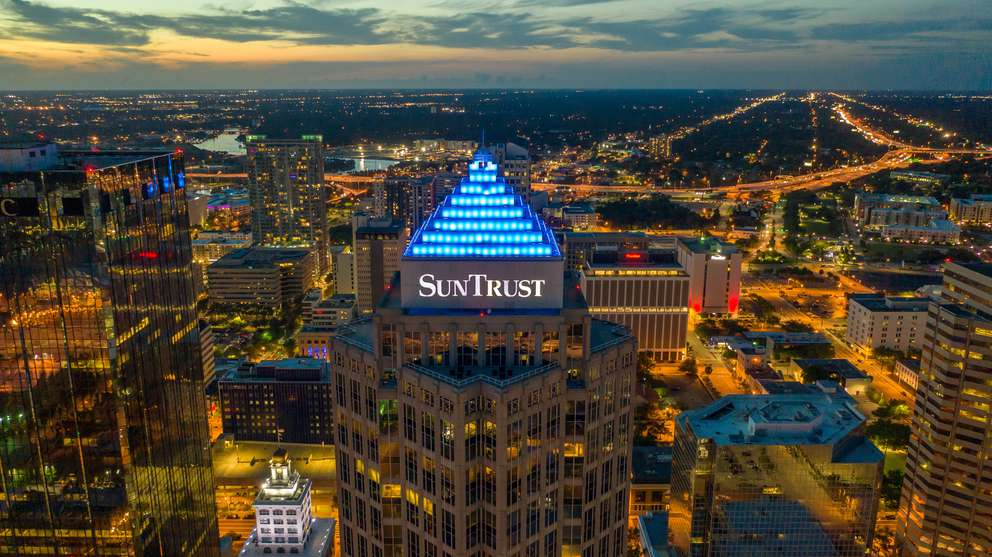 LUIS SANTANA   Times Aerial views of the illuminated pyramid like structure called a ziggurat which sits on the top of the SunTrust Financial Centre on Saturday, May 11, 2019 in Tampa.
