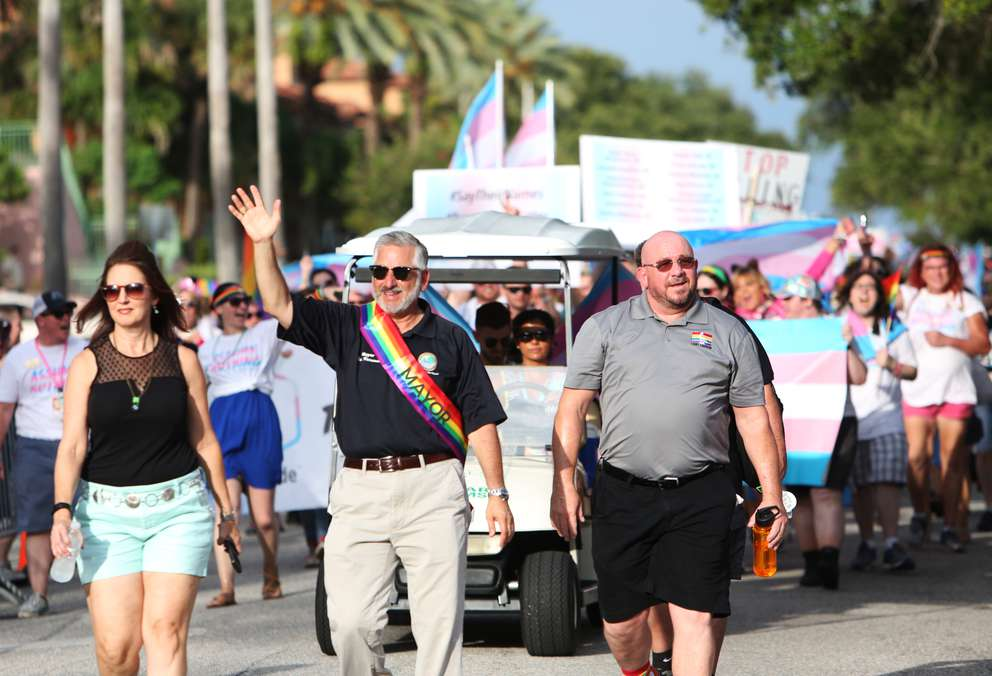 St. Petersburg Mayor Rick Kriseman leads the TransPride March before the 2018 St. Pete Pride Parade down Bayshore Drive. Times (2018)