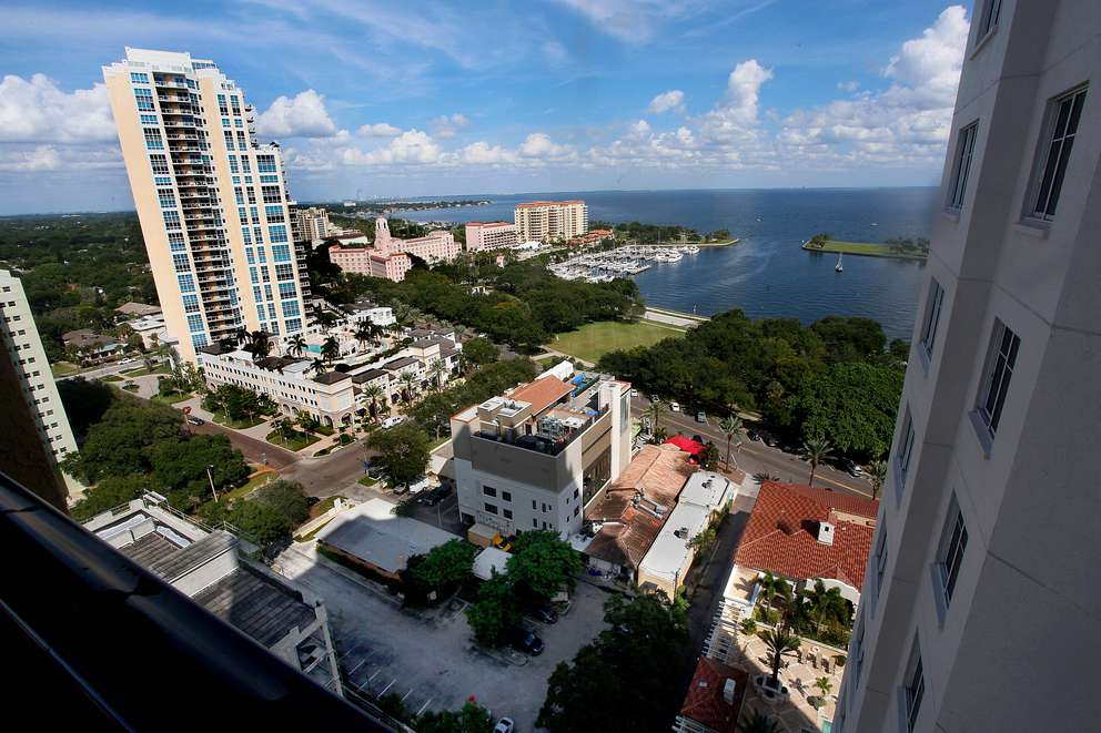The view from an upper floor of a Parkshore Plaza, 300 Beach Drive NE condo in the direction of where the new 18 story Bliss condo tower will rise. Times (2014)