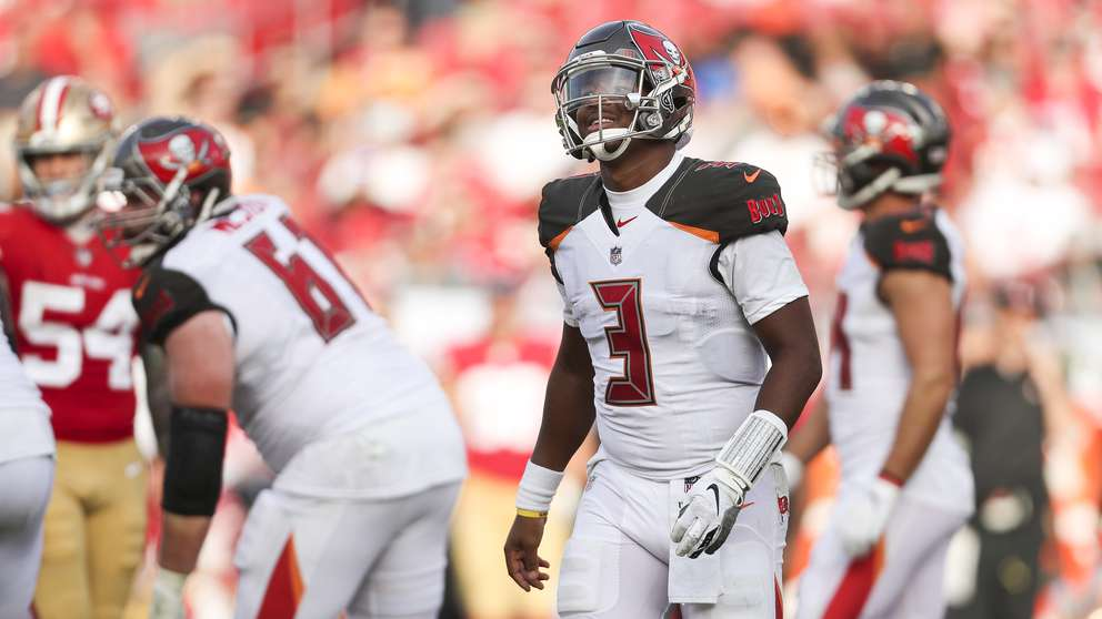 Jameis Winston (3) reacts to a timeout call from the bench during the Bucs' victory over the 49ers last week in Tampa. [MONICA HERNDON | Times]