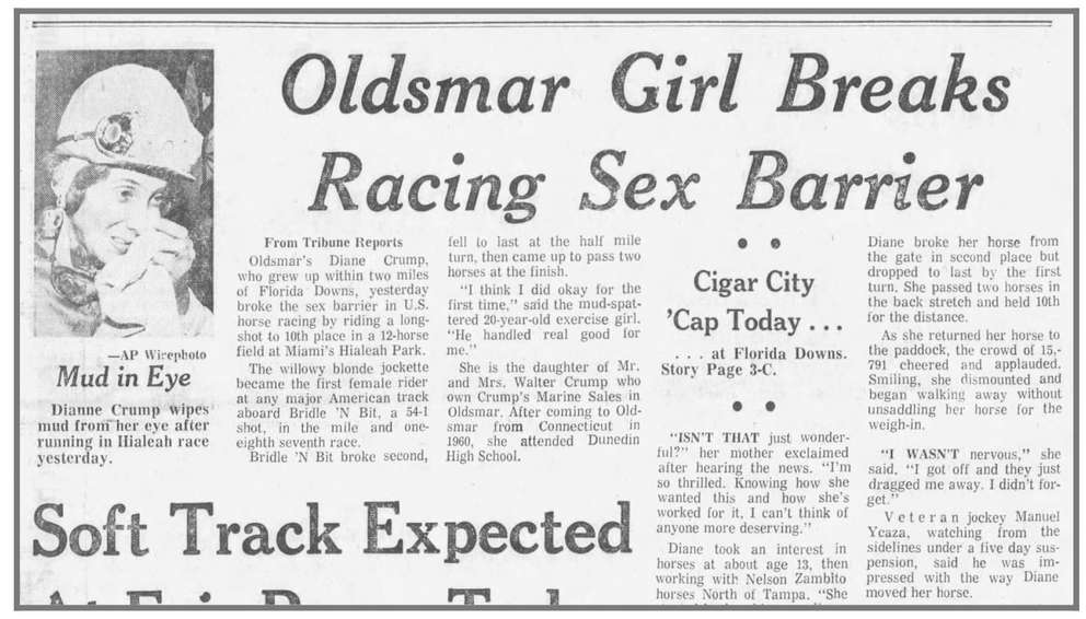 A 1969 Times story credits Diane Crump with breaking horse racing's sex barrier. [Times Files]