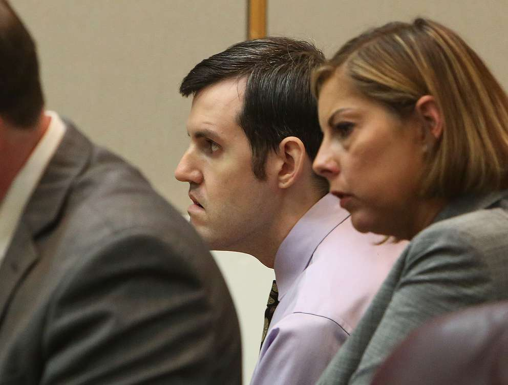 Defendant John Jonchuck, center, listens to closing arguments in court Monday. SCOTT KEELER | Times