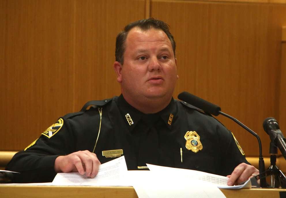 St. Petersburg Police Sgt. Kenny Miller testifies on Tuesday. [SCOTT KEELER | Times]