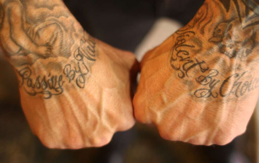 Dave Bautista shows tattoos on his hands: