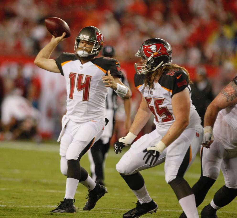 Ryan Fitzpatrick throws during a preseason game against the Lions. [JIM DAMASKE | Times]