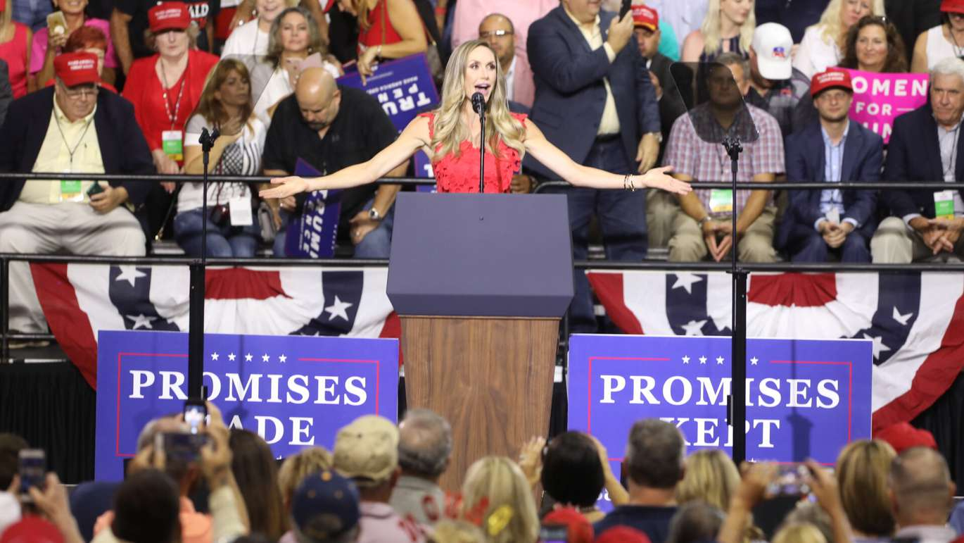 Lara Trump walks on stage at a Trump rally in Tampa on July 31, 2018. [CHRIS URSO | Times]
