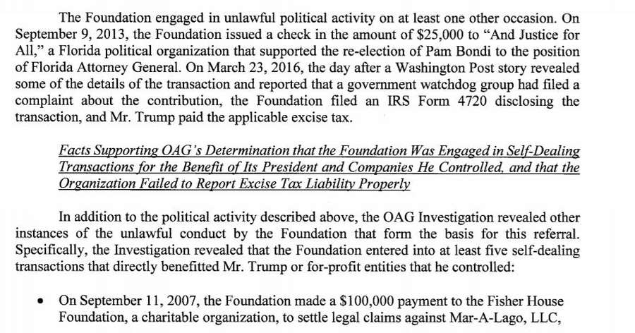 A section of the New York State lawsuit against the Trump Foundation