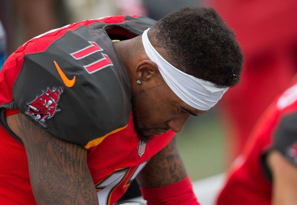 Bucs wide receiver DeSean Jackson hangs his head on the bench during a 2017 game against the Jets in Tampa. [Times files]