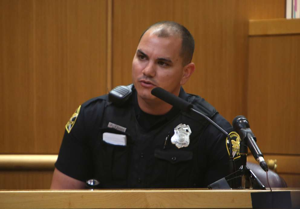 St. Petersburg Police Officer Andre Sousa testifies Wednesday. SCOTT KEELER | Times