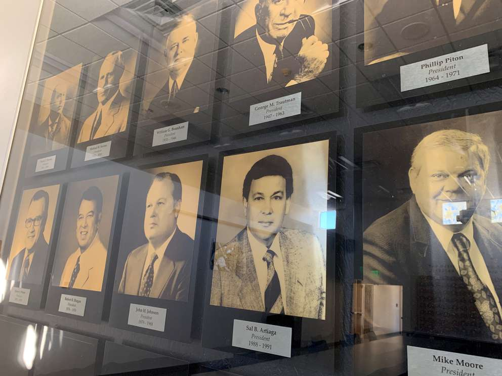 Sal Artiaga's photo hangs on the wall in Minor League Baseball's St. Petersburg offices. He served as president from 1988 through 1991. [KRISTEN HARE / Times]