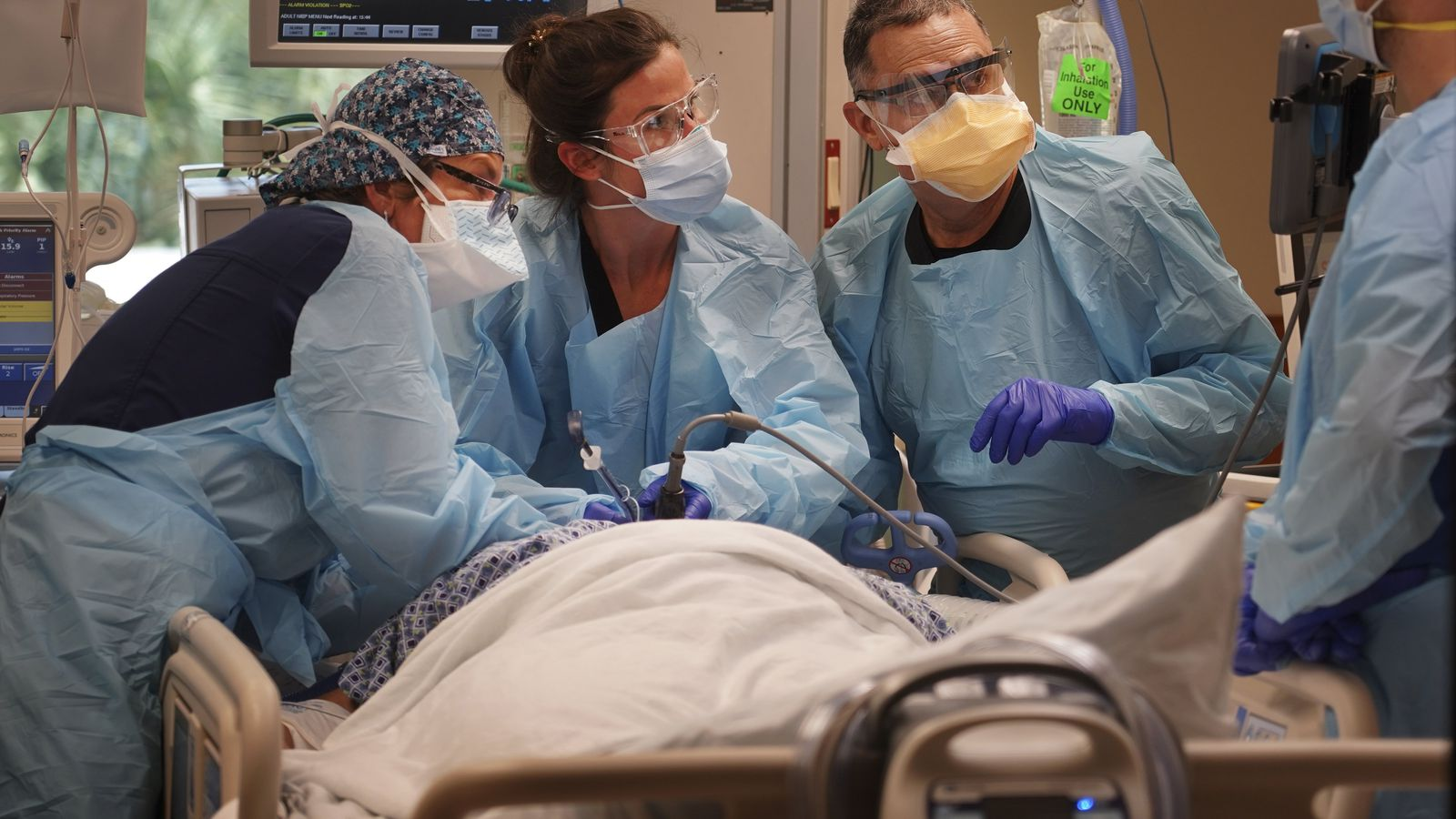 Medical workers in the Intensive Care Unit try to stabilize a patient who has been battling the virus. From mid-July through August, 43 people died of COVID-19 at Morton Plant Hospital in Clearwater. More than 75 percent of them were unvaccinated.