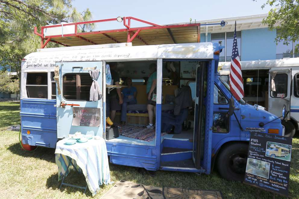 LUIS SANTANA | Times The Little Blue Traveler is a converted Levy County school bus known as a Skoolie was purchased for $860 with approximately $4000 of renovations and additions is featured at the St. Pete Tiny Home Festival featuring the latest and greatest of tiny home living at St. Petersburg College on Saturday, March 23, 2019 in St. Petersburg.