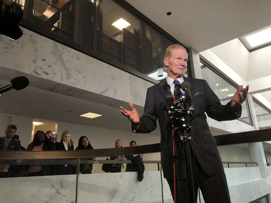 Sen. Bill Nelson addressing reporters on Monday in Washington. (Alex Leary | Times)