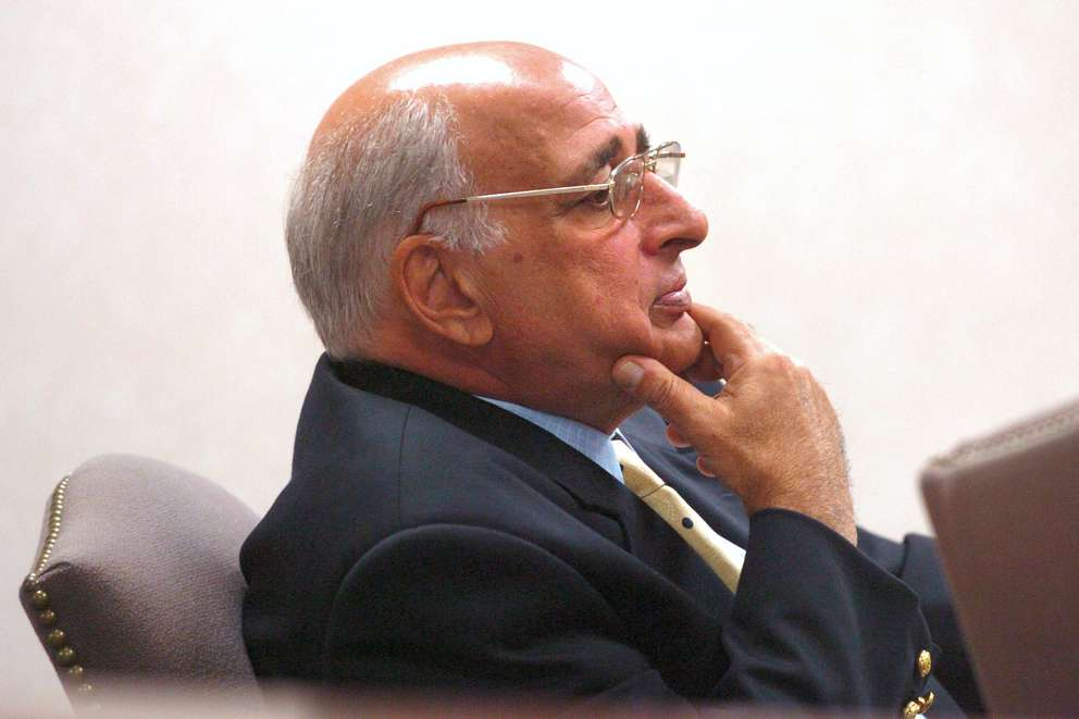 Former Acting Port Richey Mayor Robert Leggiere listens to testimony from Port Richey Police officer James Ruland during his 2004 DUI trial at the West Pasco Judicial Center. Times (2004)