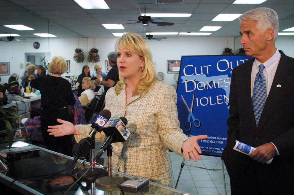 In March 2004, then-Florida Attorney General Charlie Crist appeared at the JAS Hair and Nails Salon at 4510 Hollywood Blvd., Hollywood, to recruit hair salons to participate in an awareness program to help spot signs of domestic violence. With him was Tiffany Carr of the Florida Coalition Against Domestic Violence.MIami Herald file photo