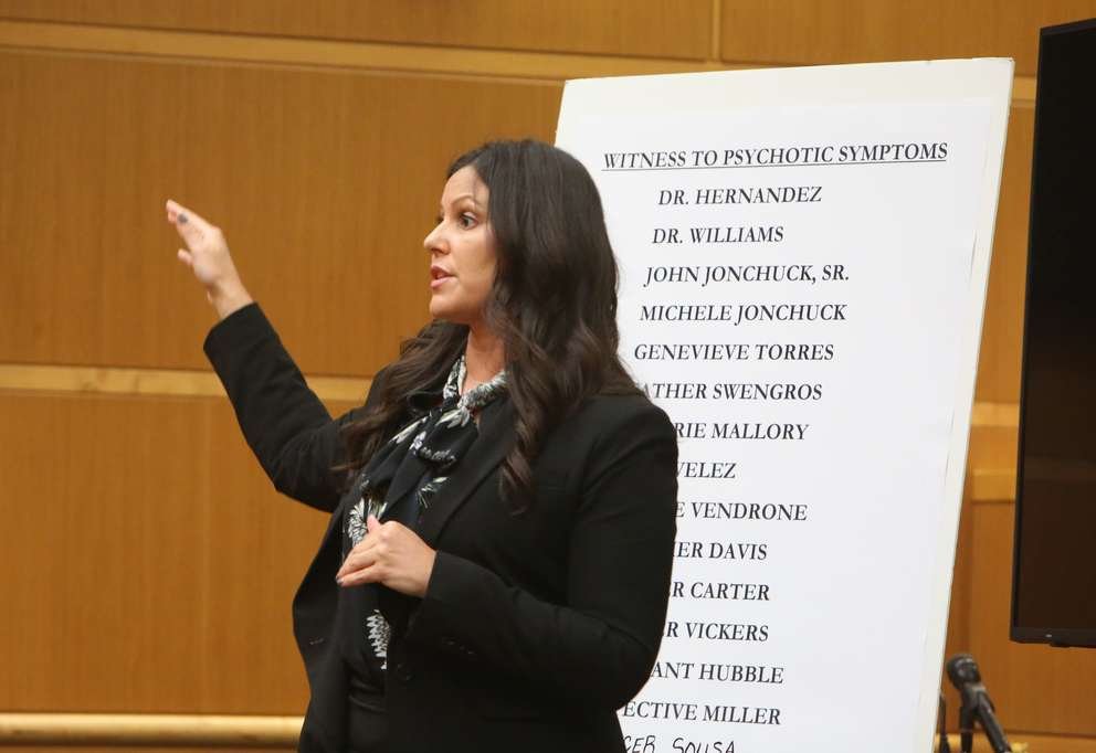 Public Defender Jessica Manuele addresses members of the jury during closing arguments Monday. SCOTT KEELER | Times