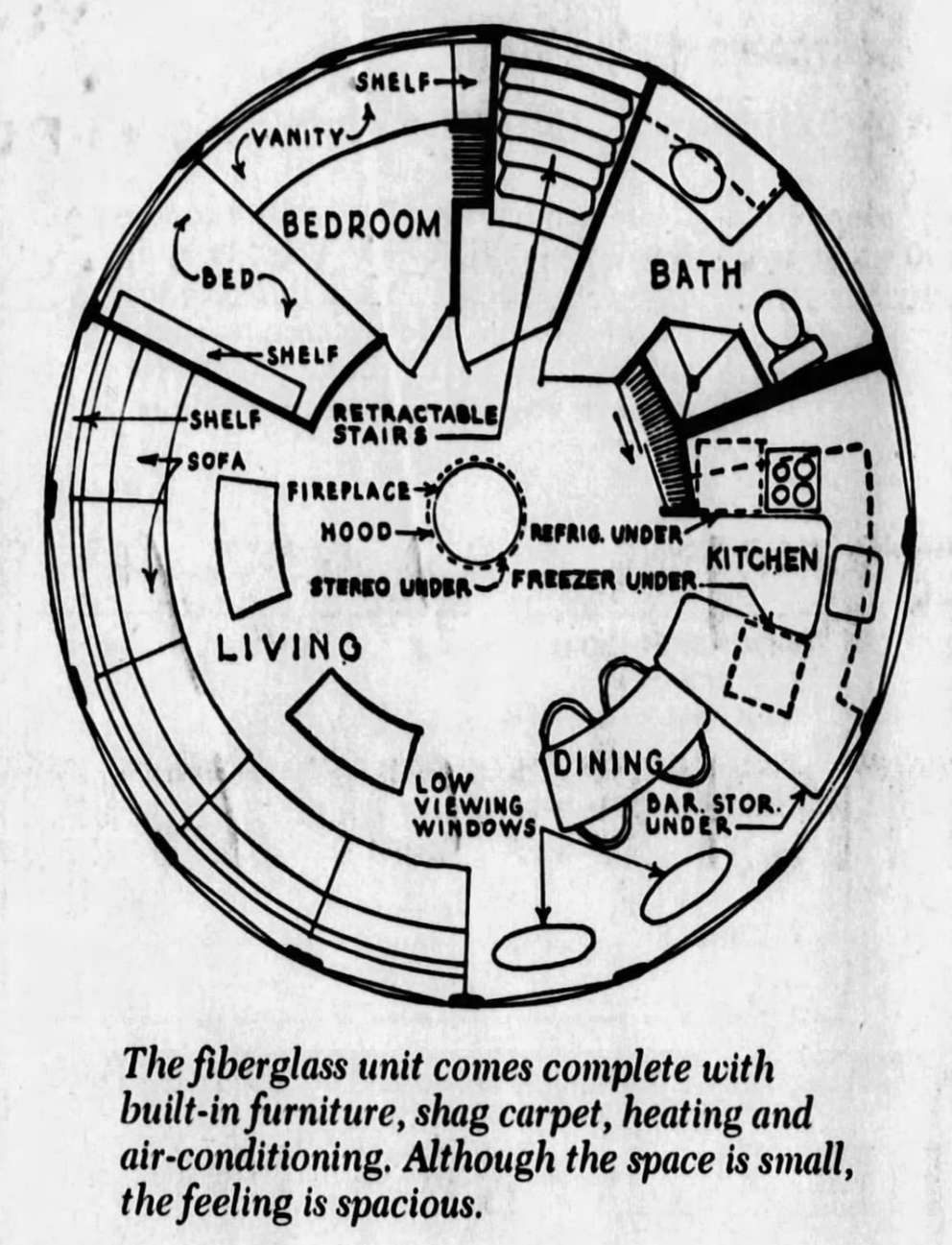 The December 6, 1970 edition of the St. Petersburg Times ran a story about Futuro houses after a dealership popped up in Clearwater. The story included a diagram depicting the pre-furnished model's interior.