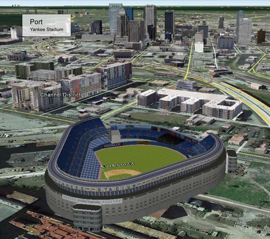 An image depicting what Yankees Stadium would look like near Port Tampa Bay on the Ybor Channel in Tampa. It is one of eight mockups of potential Tampa Bay Rays ballpark locations created last year by Hillsborough County. (Courtesy of Hillsborough County)