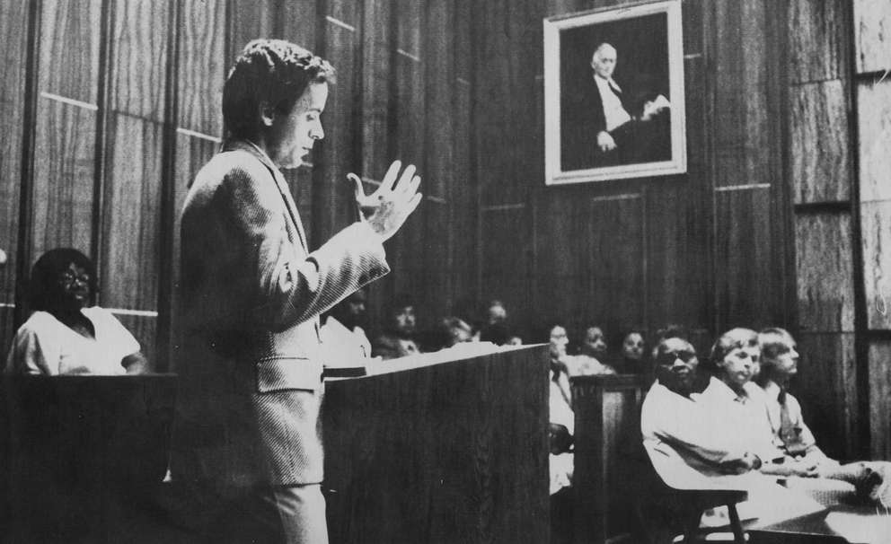 On July 9, 1979, 'Ted' Bundy gestures as he cross examines witnesses for the prosecution while members of the jury look on in the Miami courtroom. Then a second year law student, Bundy opted to assist in his own defense during the trial for the murders of two Chi Omega sorority sisters. [Times archives]