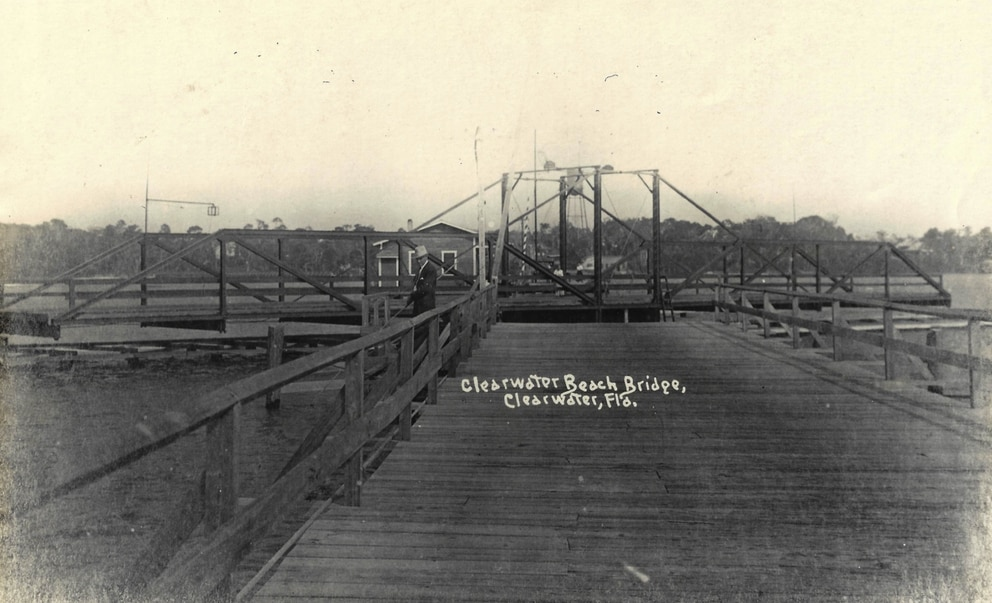 The first bridge to Clearwater Beach was completed in 1917. Courtesy of Clearwater Historical Society.