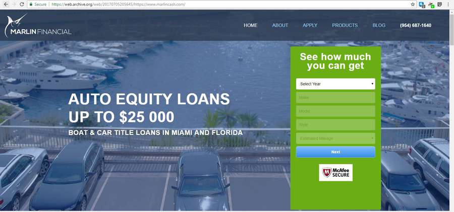 Marlin Financial offers loans against vehicles and boats. Pictured is a screenshot of their website in 2017. (Screenshot of Marlin website, 2017)
