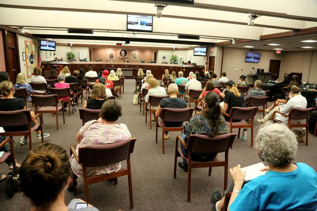 Parents and other residents lined up for hours to tell Pinellas School Board members their opinions on the school mask issue.
