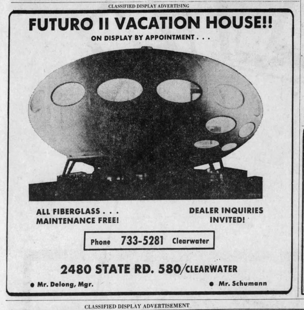 An advertisement for Futuro of Florida ran in the December 20, 1970 issue of the Tampa Tribune.