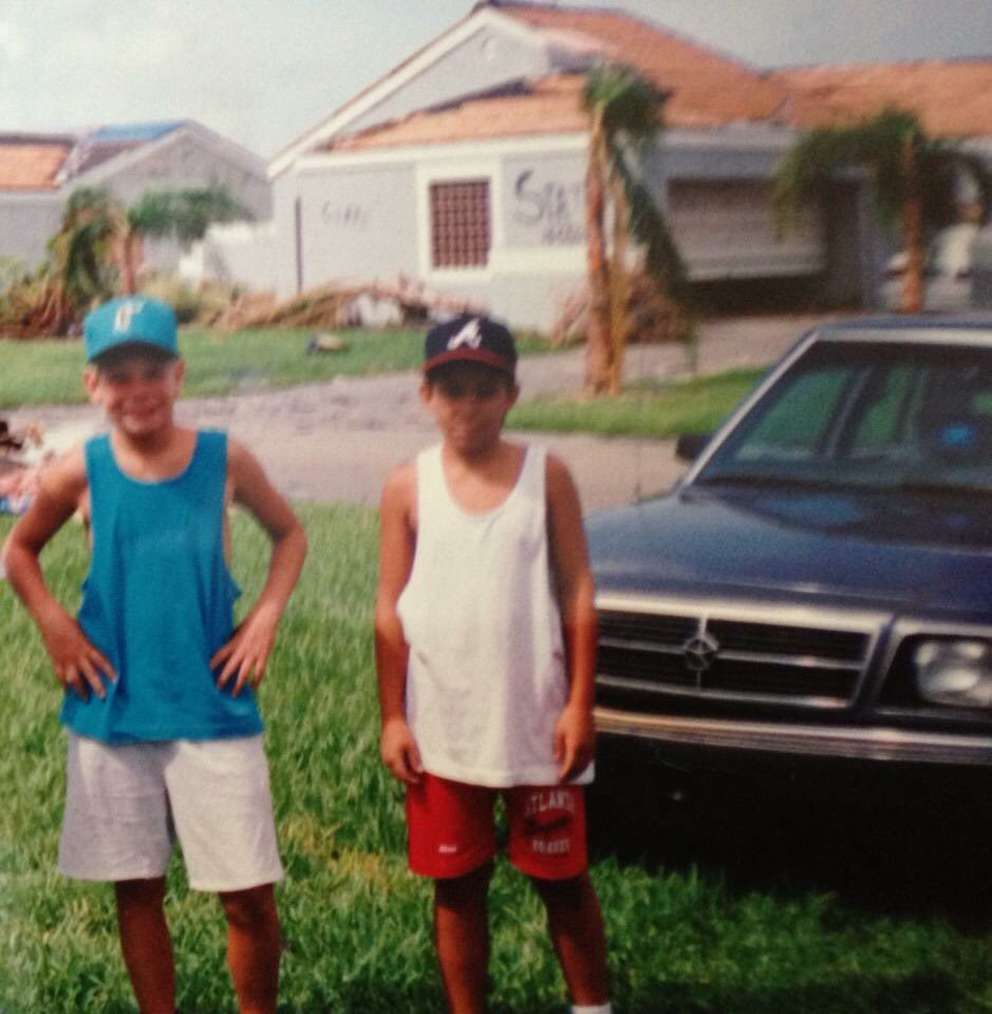 U.S. Rep. Eric Swalwell (left) visited Miami at age 11 in 1992 for a family reunion that was interrupted by Hurricane Andrew. [Photo courtesy of Swalwell's presidential campaign]