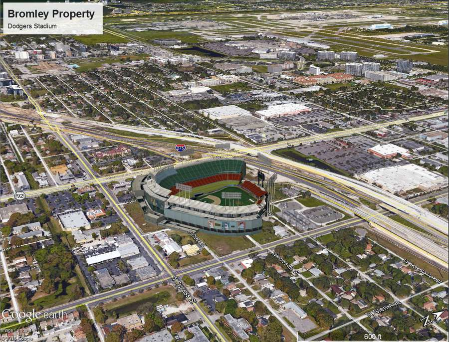 An image depicting what Dodger Stadium would look like at the intersection of N Dale Mabry Highway and W Cypress Street in Tampa, just south of Interstate 275. It is one of eight mockups of potential Tampa Bay Rays ballpark locations created last year by Hillsborough County. (Courtesy of Hillsborough County)