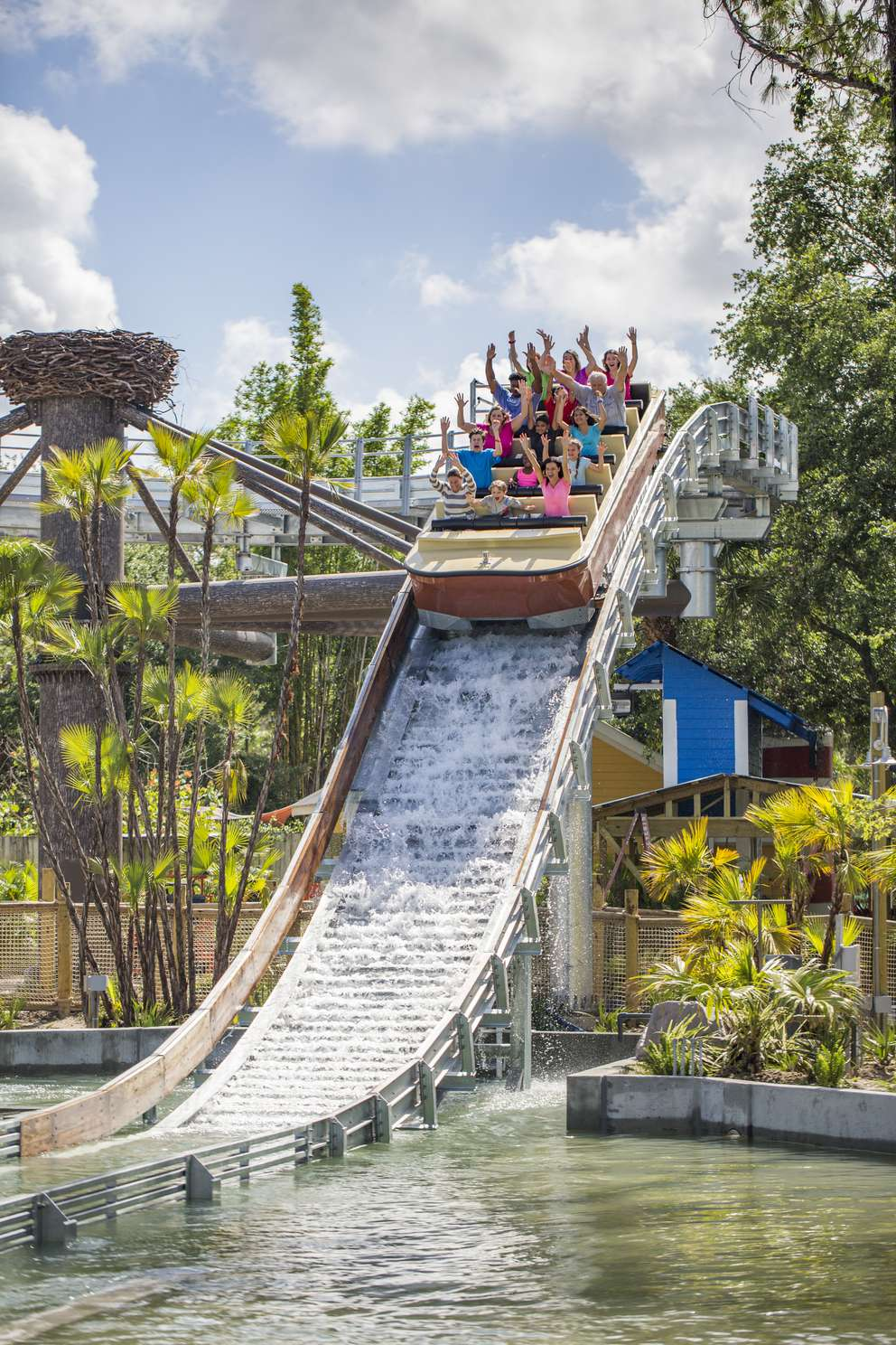 Roaring Springs is a ride and realm set up like an Old Florida town, with a new water raft ride, a food stand, play ground. Photo courtesy of ZooTampa