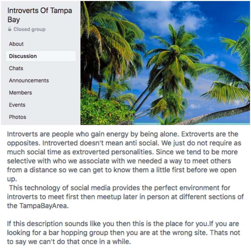 This is the description for the Facebook group, Introverts of Tampa Bay.