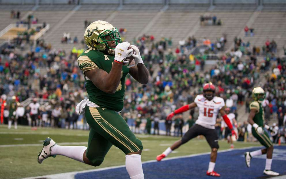 USF wide receiver Tyre McCants (8) makes a game-winning touchdown catch in the Bulls' victory over Texas Tech in the 2017 Birmingham Bowl. [Times files]