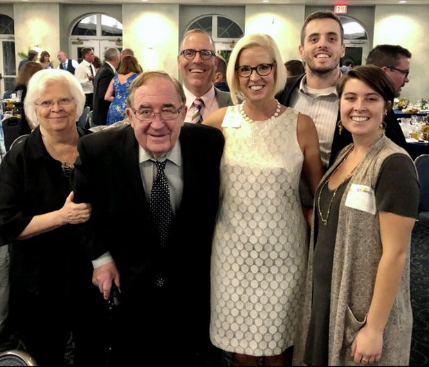 Mrs. Kollock with her husband, daughter and her family. She was always the last to leave a party, her daughter said, and an ardent list maker, her granddaughter said.