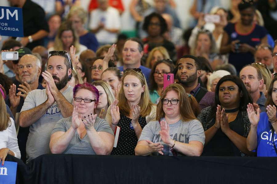 OCTAVIO JONES | TimesA packed gymnasium watches Florida Gubernatorial Democratic candidate Andrew Gillum give his speech during the Florida Democratic Party rally held at the University of South Florida in Tampa, Florida on Monday, October 22, 2018.