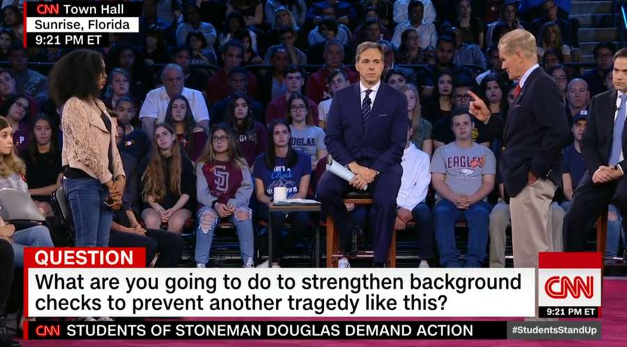 Sen. Bill Nelson talks at the CNN town hall on the Parkland school shooting. Sen. Marco Rubio looks on (screen shot from CNN broadcast)