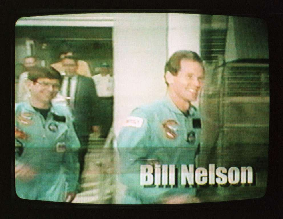 Bill Nelson is shown boarding the Space Shuttle for a flight in January 1986 as part of an image from a political television ad released by the Nelson campaign in 1998. (AP Photo/HO)
