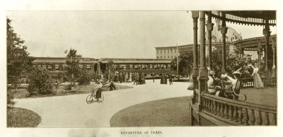 Plant System train departing from the Tampa Bay Hotel. This image is from an 1899 advertising brochure promoting the Plant System.
