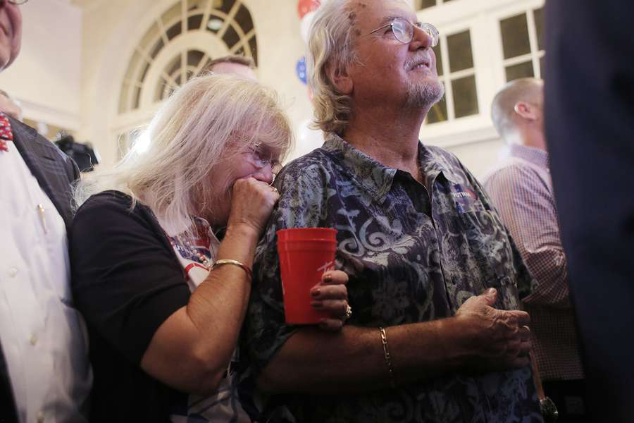 A supporters of Gubernatorial Republican candidate Adam Putnam cries during his concession speech after losing to opponent Rep. Ron DeSantis during his election watch party held at the Terrace Hotel in downtown Lakeland, Florida on Tuesday, August 28, 2018. OCTAVIO JONES | Times