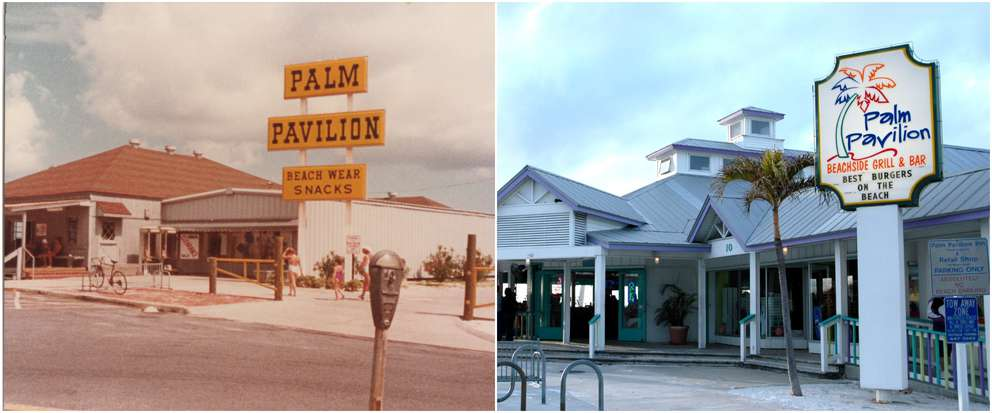 Left: Ken Hamilton, owner of the Palm Pavilion, estimates this photo was taken during the 1980s, before the restaurant's kitchen was expanded in 1995. Courtesy of Palm Pavilion Beachside Grill & Bar, Clearwater Beach, FL Right: The Palm Pavilion is the last pavilion on Clearwater Beach, functioning as a restaurant and bar. Times (2010)
