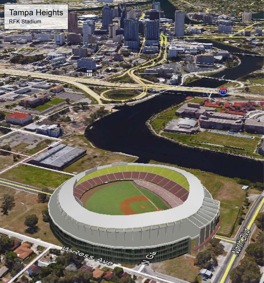 An image depicting what RFK Stadium, an old professional football and baseball arena in Washington, D.C., would look like along the Hillsborough River in Tampa Heights. It is one of eight mockups of potential Tampa Bay Rays ballpark locations created last year by Hillsborough County.