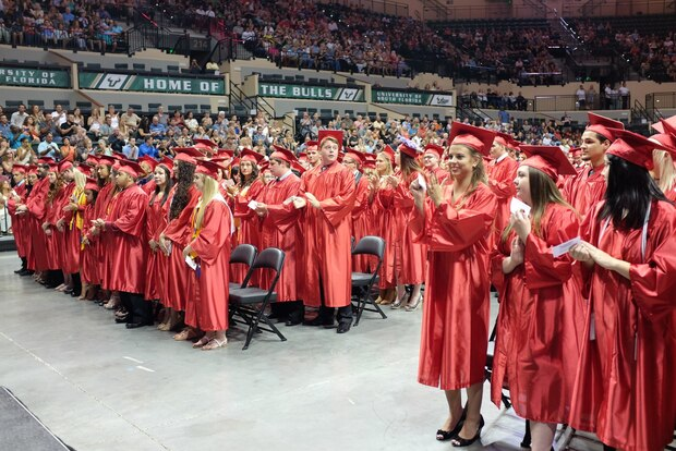 Hudson High School's Class of 2016 held its graduation ceremony at the USF Sun Dome. More recently, the school has struggled to improve its graduation rate.