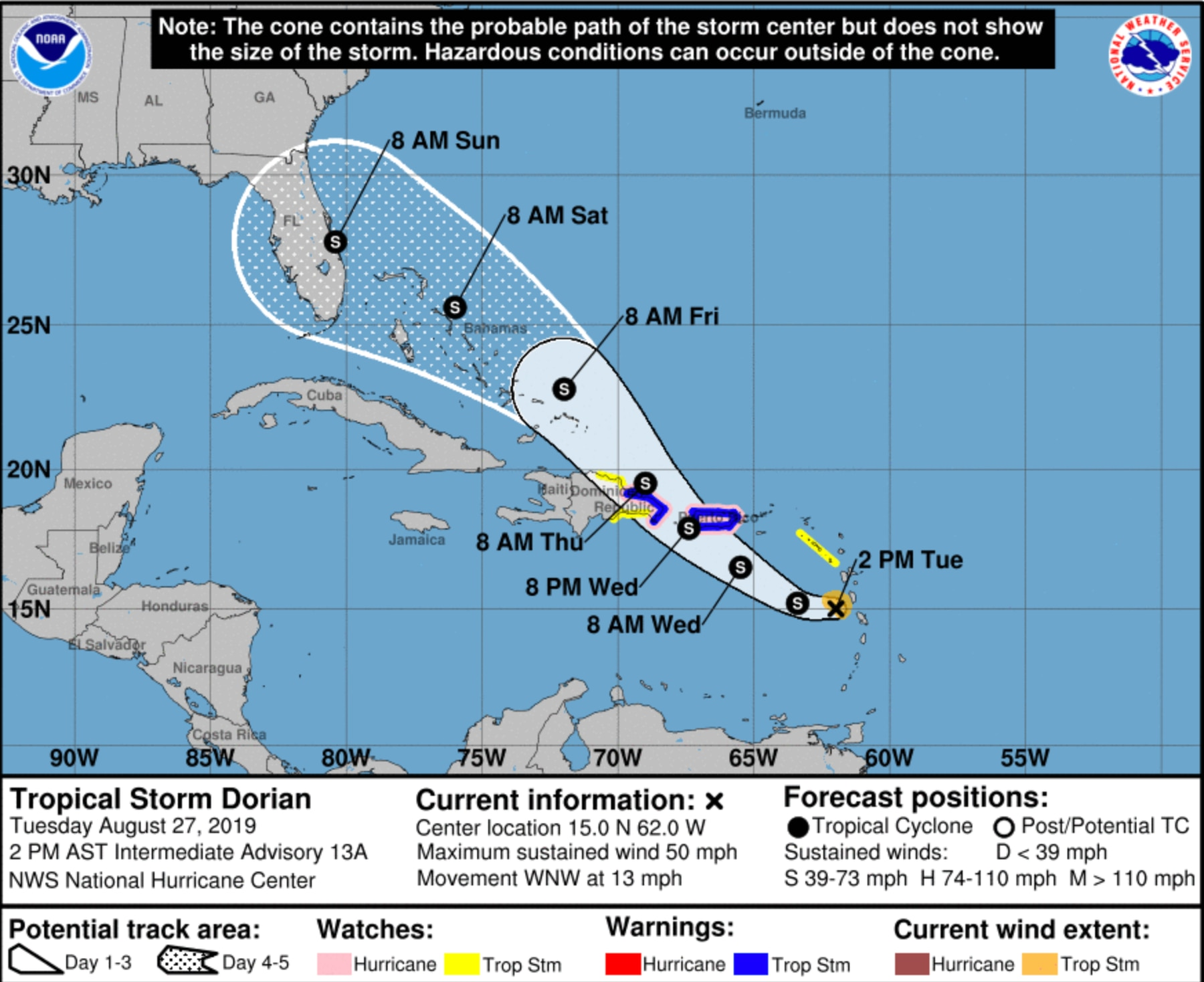 Dorian Zeroes In On Florida Tampa Bay Is In The Cone Watch What Happens In The Caribbean
