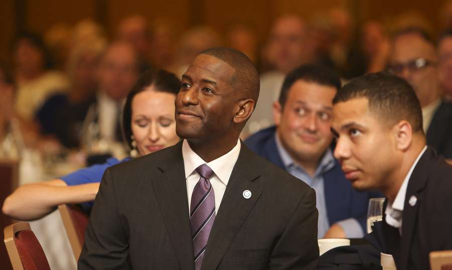 Tallahasse Mayor, Andrew Gillum, the Democratic nominee for governor, waits to be introduced at the Pinellas County Democratic Party's Wave to Victory Gala on Saturday, Sept. 22, 2018 in St. Petersburg. MARTHA ASENCIO RHINE | Times