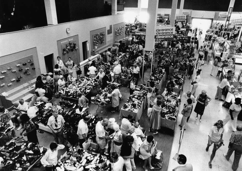 An estimated 50,000 people visited Maas Brothers during the first day of a three day blockbuster sale held in 1982. Times (1982)