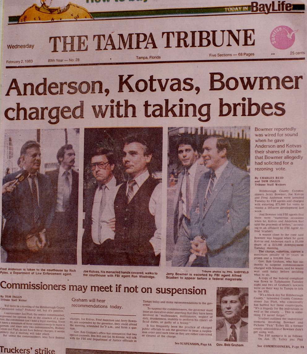 Coverage of the 1983 arrest of county commissioners. (Image courtesy Angie Moreschi, James Hoyer Investigative Law Firm)