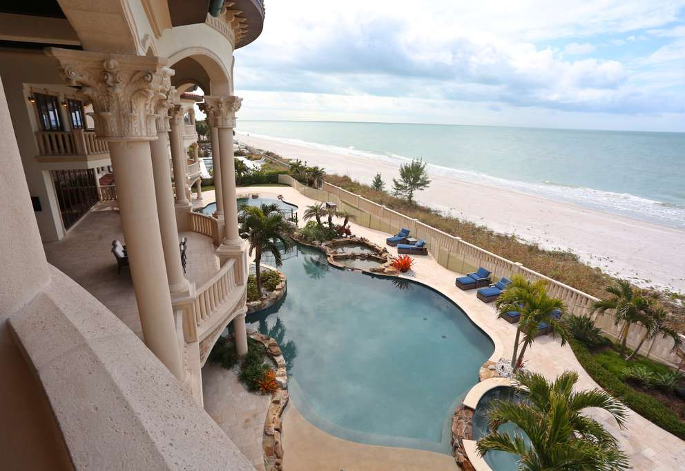 The view of the Gulf of Mexico from the master bedroom of a 39,000-square-foot in Belleair Shore that Ben and Karla Mallah purchased for a record $16.5 million. [SCOTT KEELER | Times]